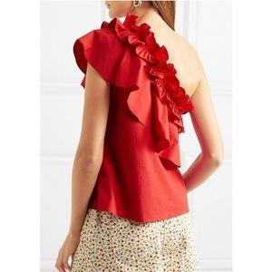 SALONI Esme One Shoulder ruffle blouse red 4 XS